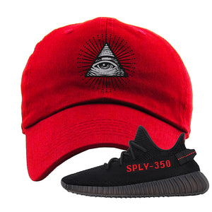 Yeezy 350 Boost V2 Bred Dad Hat | All Seeing Eye, Red