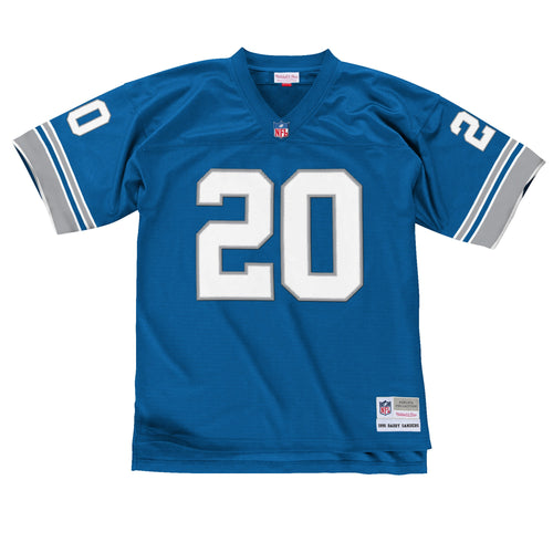 the 1996 replica barry sanders detroit lions jersey is blue with the number 20 on the front in white