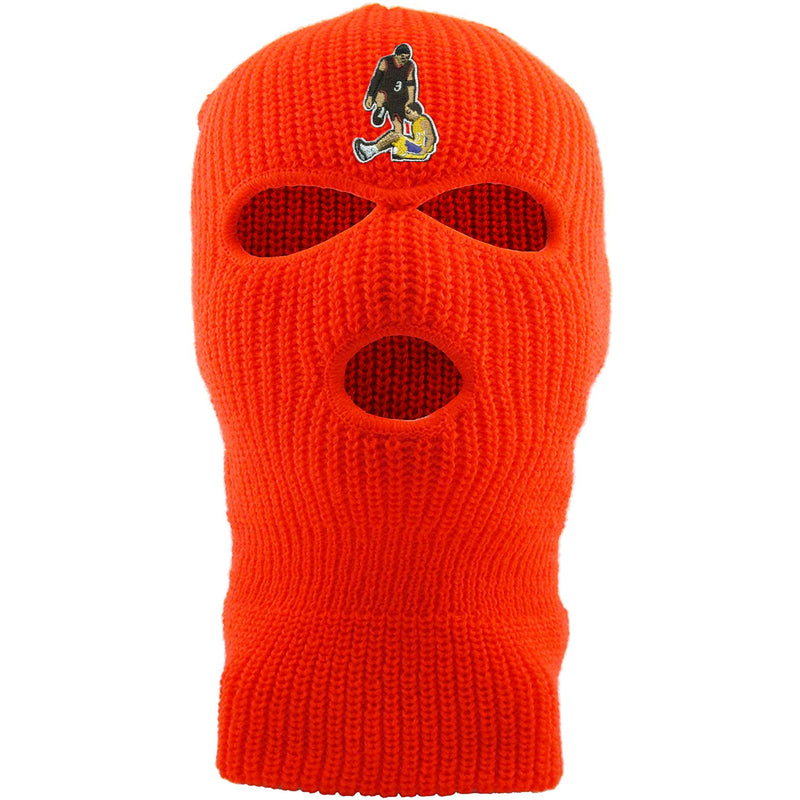 Embroidered on the forehead of the allen iverson step over safety orange ski mask is the allen iverson step over logo