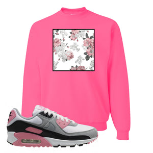 WMNS Air Max 90 Rose Pink Flower Box Neon Pink Crewneck Sweatshirt To Match Sneakers
