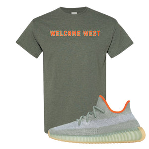 Yeezy 350 V2 Desert Sage T Shirt | Heather Military Green, Welcome West