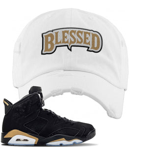 Jordan 6 DMP 2020 Distressed Dad Hat | White, Blessed Arch