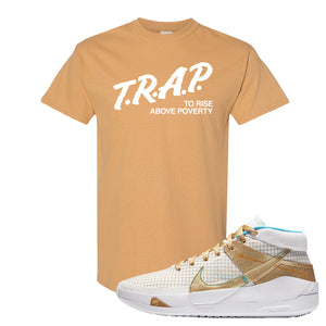 KD 13 EYBL T Shirt | Trap To Rise Above Poverty, Old Gold