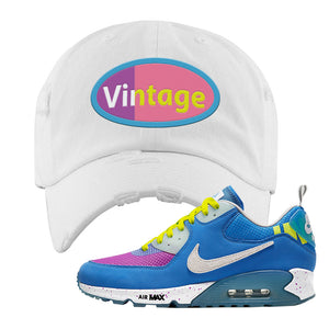 Undefeated x Air Max 90 Pacific Blue Sneaker White Distressed Dad Hat | Hat to match Undefeated x Nike Air Max 90 Pacific Blue Shoes | Vintage Oval