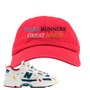 Aime Leon Dore X New Balance 827 Abzorb Multicolor 'White' Dad Hat | Red, Make Runners Great Again Basic