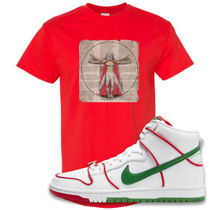Paul Rodriguez's Nike SB Dunk High Sneaker Red T Shirt | Tees to match Paul Rodriguez's Nike SB Dunk High Shoes | Luchador Davinci