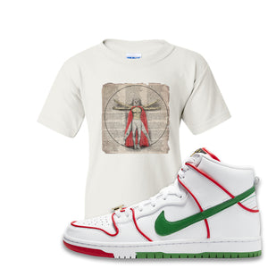 Paul Rodriguez's Nike SB Dunk High Sneaker White Kid's T Shirt | Kid's Tees to match Paul Rodriguez's Nike SB Dunk High Shoes | Luchador Davinci