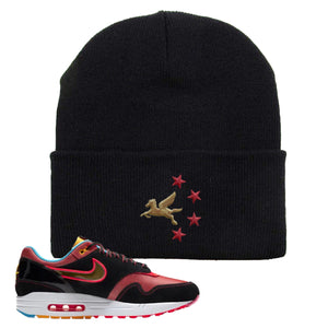 Air Max 1 NYC Chinatown Pegasus With Chinese Stars Black Beanie To Match Sneakers