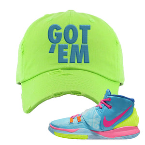 Kyrie 6 Pool Distressed Dad Hat | Got Em, Neon Green