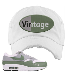 Air Max 1 Spiral Sage Distressed Dad Hat | Vintage Oval, White
