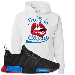 NMD R1 Black Red Boost Matching Hoodie | Sneaker hoodie to match NMD R1s | Talk Is Cheap, White