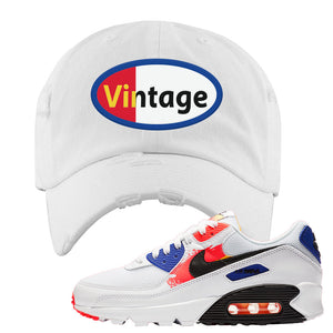 Air Max 90 Paint Streaks Distressed Dad Hat | Vintage Oval, White