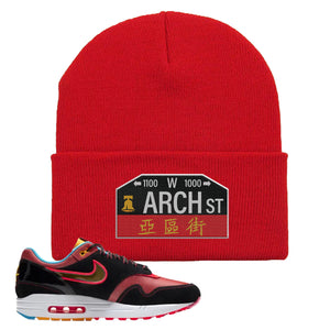 Air Max 1 NYC Chinatown Arch Street Philadelphia Red Beanie To Match Sneakers