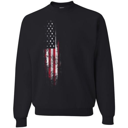 Standard Issue Distressed American Flag Banner Black Grunt Life Crewneck Sweater