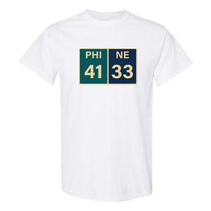 Eagles Superbowl Score T-Shirt | Eagles Superbowl Scorecard White T-Shirt the front of this shirt has the superbowl score card