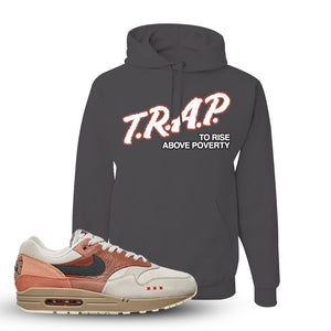 Air Max 1 Amsterdam City Pack Sneaker Charcoal Grey Pullover Hoodie | Hoodie to match Nike Air Max 1 Amsterdam City Pack Shoes | Trap To Rise Above Poverty