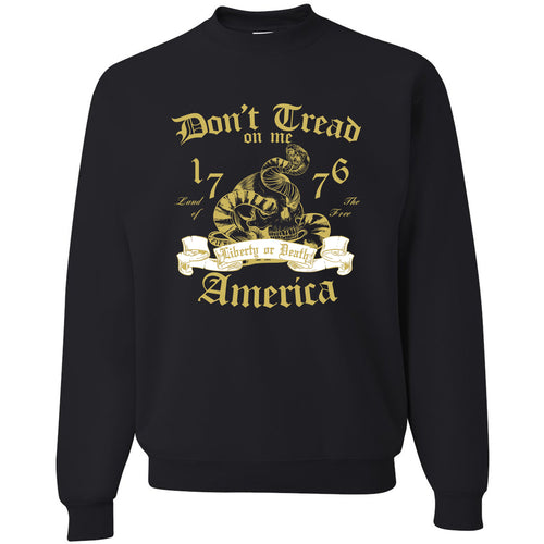 Standard Issue Don't Tread On Me Snake with Skull Black Grunt Life Crewneck Sweater