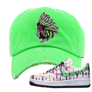Air Force 1 Low Multi-Colored Tie-Dye Distressed Dad Hat | Neon Green, Indian Chief