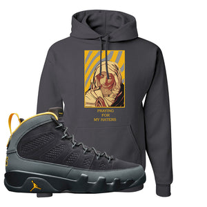 Air Jordan 9 Charcoal University Gold Hoodie | God Told Me, Smoke Grey