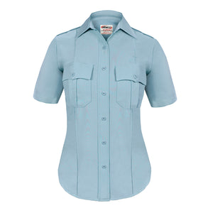 the Firewoman Police Public Safety | TexTrop2 Short Sleeve Women's Uniform Shirt | French Blue Moisture Wicking Police Duty Shirt for Women has patch pockets and a starched collar
