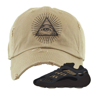 Yeezy 700 v3 Eremial Distressed Dad Hat | All Seeing Eye, Khaki