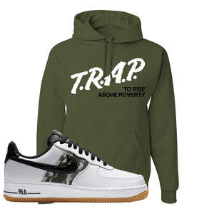 Air Force 1 Low Camo Hoodie | Trap To Rise Above Poverty, Fatigue Green