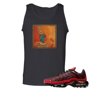 printed on the front of the air max plus sunburst sneaker matching black tank top is the vintage egyptian logo