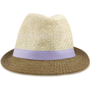 Dorfman Pacific Khaki Straw Purple Strap Kid's Fedora