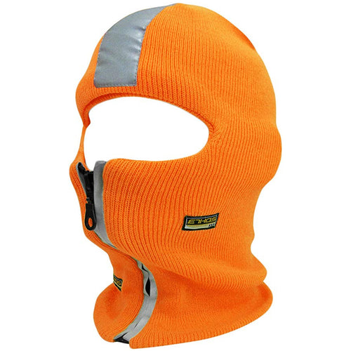 the safety orange reflective stripe zipper ski mask is solid orange with a gray reflective stripe down the center