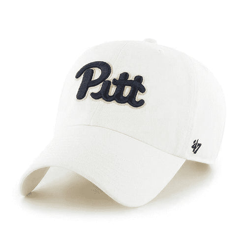 embroidered on the front of the university of pittsburgh  white dad hat is the pitt logo embroidered in navy blue