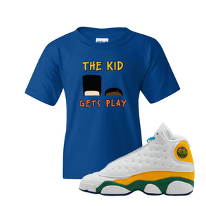 The Kids Gets Play Royal Blue Kid's T-Shirt to match Air Jordan 13 GS Playground Kids Sneaker