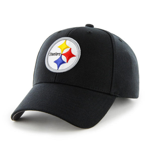 Embroidered on the front of the black pittsburgh steelers dad hat is the steelers logo embroidered in black, yellow, red, an dblue
