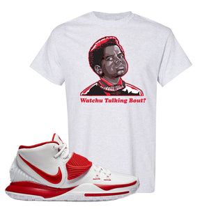 Kyrie 6 White University Red T Shirt | Watchu Talking Bout, Ash