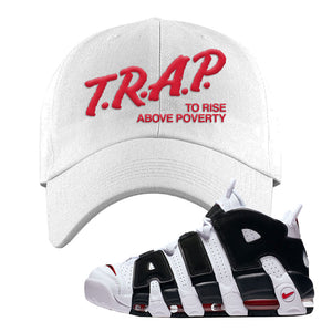 Air More Uptempo White Black Red Dad Hat | White, Trap To Rise Above Poverty
