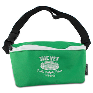 Embroidered on the front of the kelly green veterans stadium fanny pack is the vet logo embroidered in white