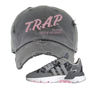WMNS Nite Jogger True Pink Camo Distressed Dad Hat | Dark Gray, Trap to Rise Above Poverty