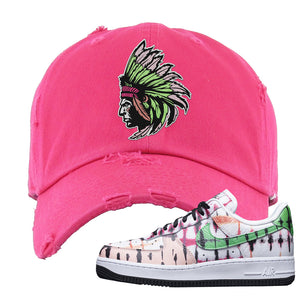 Air Force 1 Low Multi-Colored Tie-Dye Distressed Dad Hat | Pink, Indian Chief