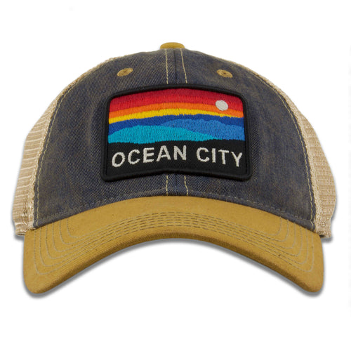 "Ocean City ""The Horizon"" Navy blue / Khaki Mesh-Back Trucker Hat"