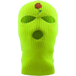 Embroidered on the forehead of the safety yellow ski mask is the rose bud logo in red, gree, and gold | yeezy semi frozen yellow 350