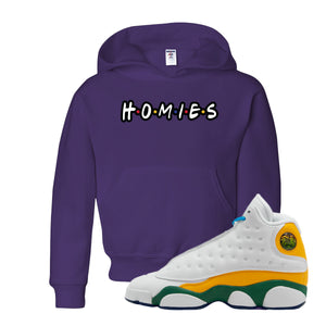 Playa From the Himalaya Deep Purple Kid's Pullover Hoodie to match Air Jordan 13 GS Playground Kids