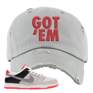 Nike SB Dunk Low Infrared Orange Label Got Em Light Gray Dad Hat To Match Sneakers