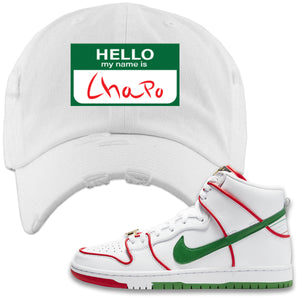 Paul Rodriguez's Nike SB Dunk High Sneaker White Distressed Dad Hat | Distressed Dad Hat to match Paul Rodriguez's Nike SB Dunk High Shoes | Hello My Name Is Chapo