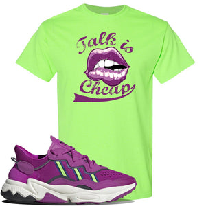 Ozweego Vivid Pink Sneaker Neon Green T Shirt | Tees to match Adidas Ozweego Vivid Pink Shoes | Talk is Cheap
