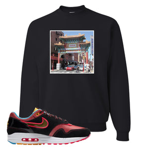 Air Max 1 NYC Chinatown Chinese Gate Of Friendship Black Crewneck Sweatshirt To Match Sneakers