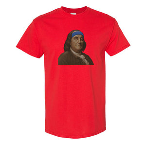 Ben Franklin Sweatband T-Shirt | Ben Franklin Sweat Band Red T-Shirt the front of this t-shirt has ben franklin with a sweatband on