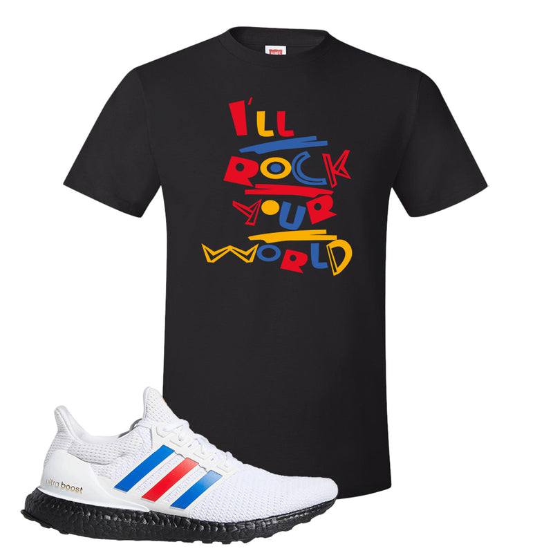 Ultra Boost White Red Blue T Shirt | Black, I'll Rock Your World