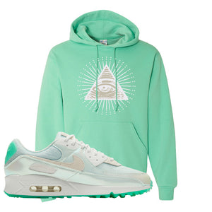 Air Max 90 Sail Pastel Green Hoodie | All Seeing Eye, Cool Mint