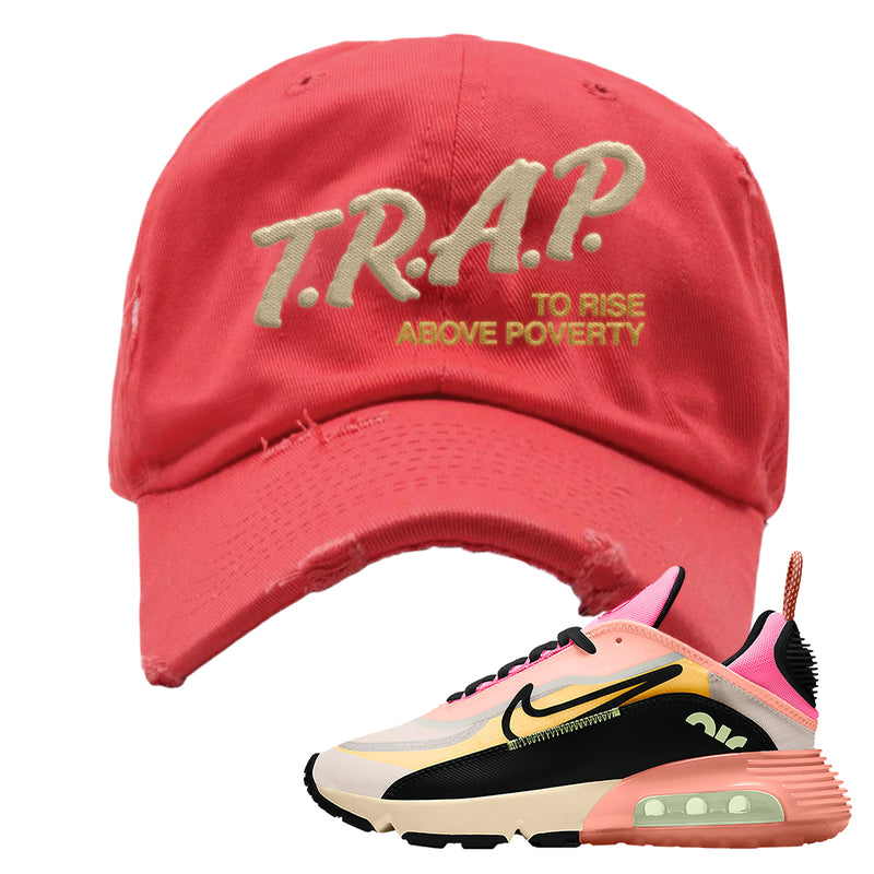 Air Max 2090 WMNS Neon Highlighter Distressed Dad Hat | Coral, Trap To Rise Above Poverty