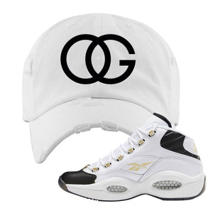 Reebok Question Mid Black Toe Distressed Dad Hat | White, OG