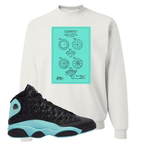Diamond Patent White Crewneck Sweatshirt To Match Jordan 13 Island Green Sneakers